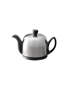 Tea pot 2 cups with black body brushed lid