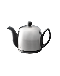 Tea pot 4 cups with black body brushed lid