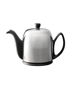 Tea pot 6 cups with black body brushed lid