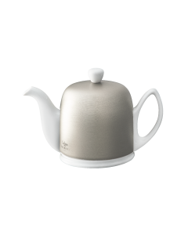 Tea pot 4 cups with white body zinc aluminium lid