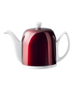 Tea pot 6 cups with white bidy red lid