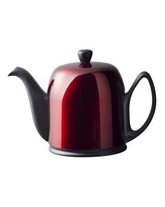 Tea pot 6 cups with black body red lid